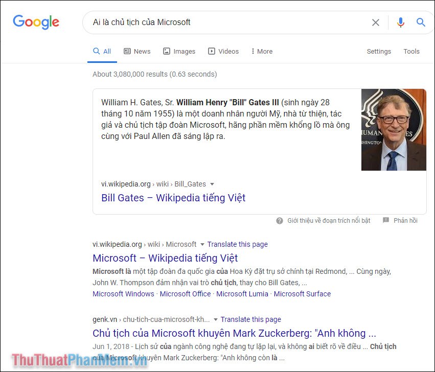 Kết quả tìm kiếm với Google