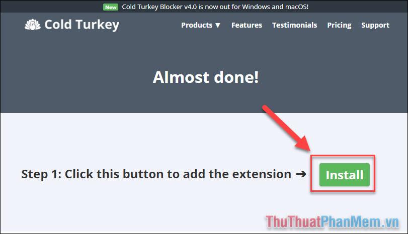 Nhấn Install để cài đặt tiện ích mở rộng Blocker lên trình duyệt của bạn