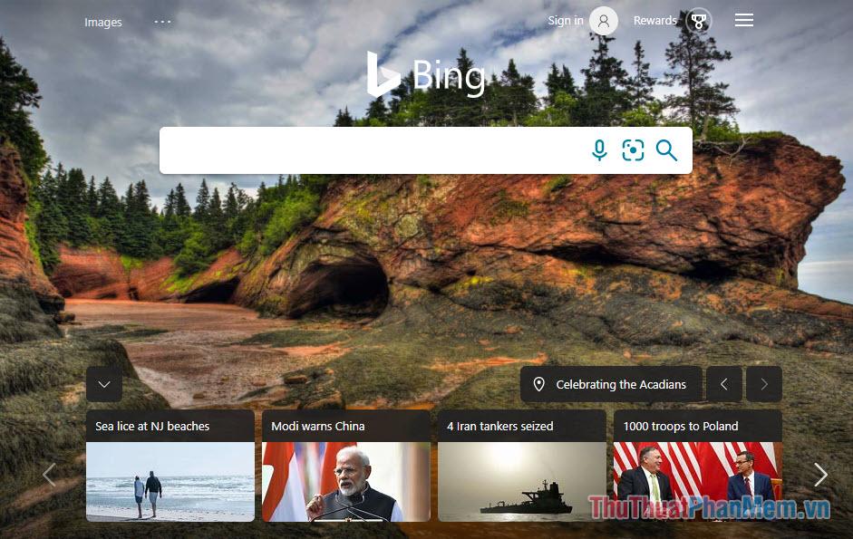 Thiết kế trang chủ Bing