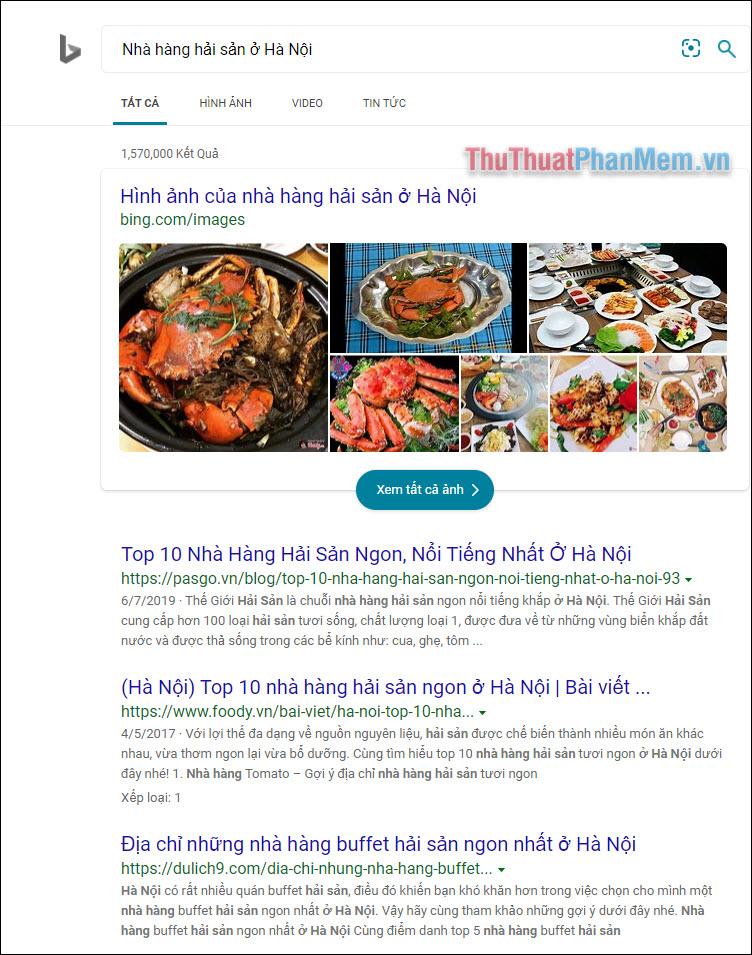 Tìm kiếm địa điểm với Bing