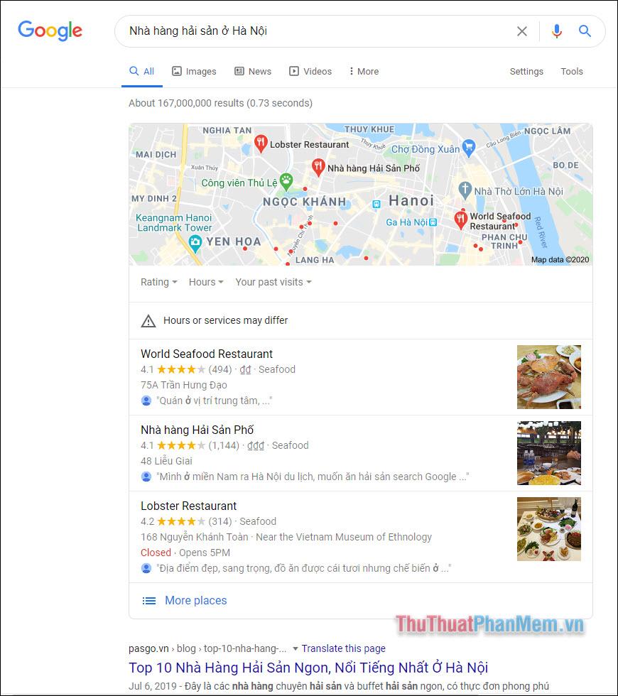 Tìm kiếm địa điểm với Google