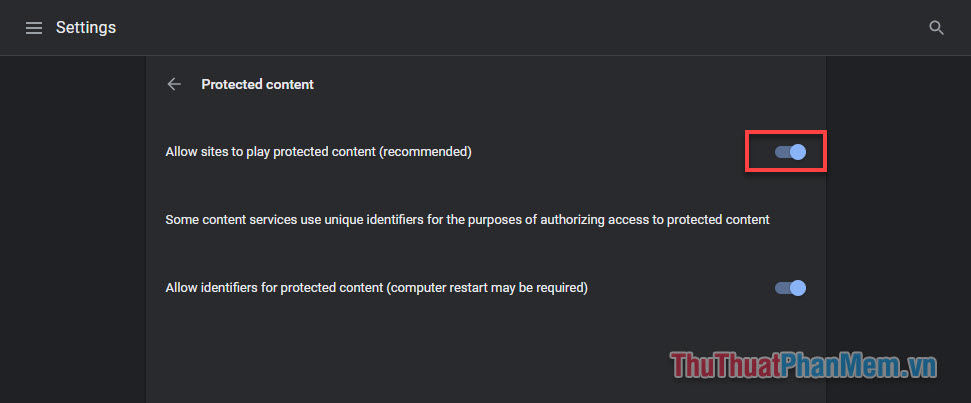 Bật Allow sites to play protected content