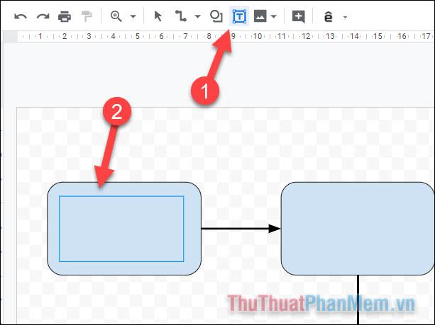 Chọn công cụ Văn bản, sau đó vẽ một khung giới hạn vừa đủ để điền văn bản vào bên trong