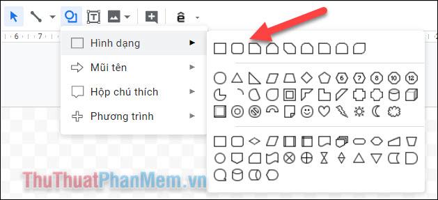 Chọn hình dạng cho khung bạn muốn tạo