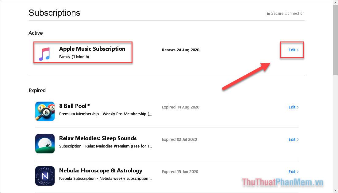 Mở Edit bên cạnh Apple Music Subscription
