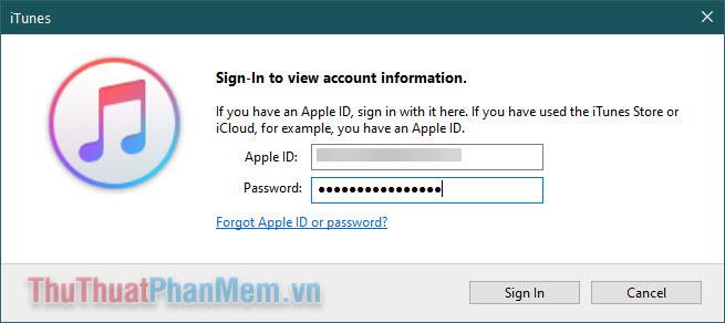 Nhập mật khẩu Apple ID của bạn rồi Enter để đăng nhập