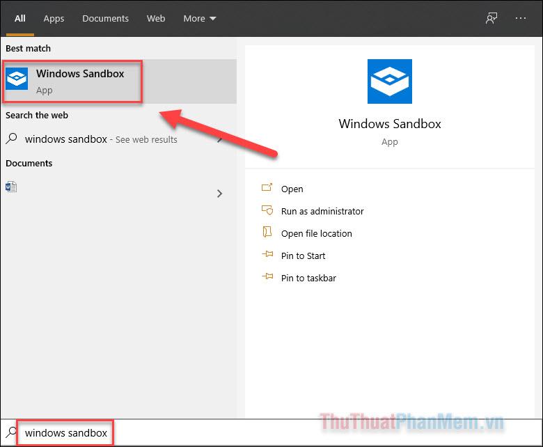 Nhập Windows Sandbox vào ô tìm kiếm và mở ứng dụng này