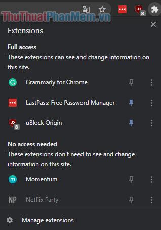 Tất cả các tiện ích mở rộng đang được bật trên trình duyệt được hiển thị