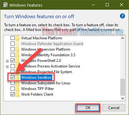 Tích chọn Windows Sandbox