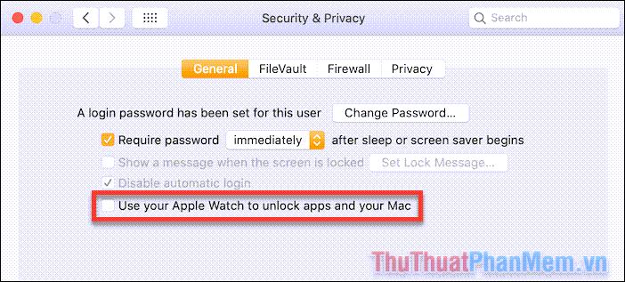 Tích vào ô bên cạnh dòng chữ Use Apple Watch to unlock apps and your Mac