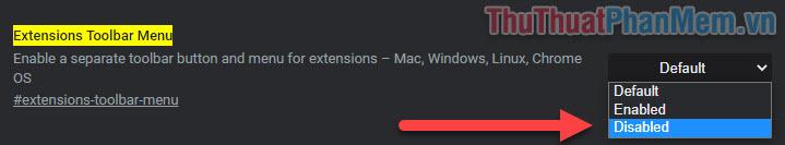 Trong mục Extentions Toolbar Menu, chọn Disable