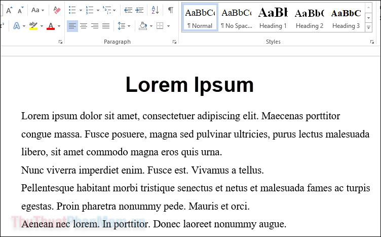 Chèn văn bản ngẫu nhiên, Loren Ipsum vào Word