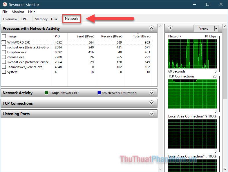 Chuyển sang tab Network và bạn biết được dịch vụ hay ứng dụng nào đang chiếm dụng nhiều tài nguyên mạng