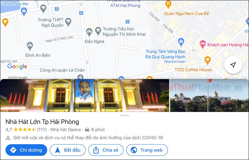 Giao diện của Google Maps cũng như các chức năng cơ bản vẫn được giữ nguyên
