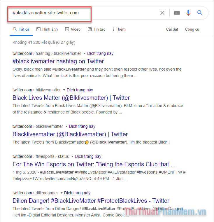 Hashtag trong kết quả tìm kiếm