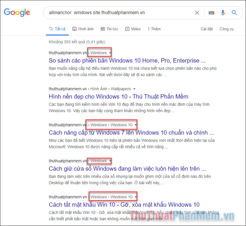 Kết quả tìm kiếm gồm các liên kết có chứa từ khóa