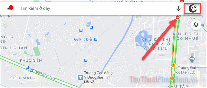 Nhấp vào biểu tượng này để hiển thị hồ sơ Google Maps