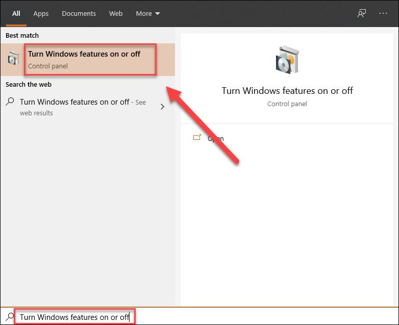 Nhập vào ô tìm kiếm Turn Windows features on or off và mở ứng dụng này