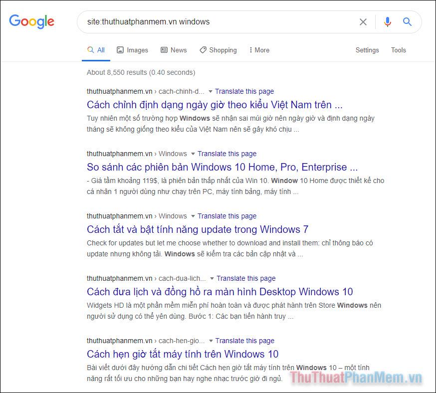 Tìm kiếm nội dung trong một trang web