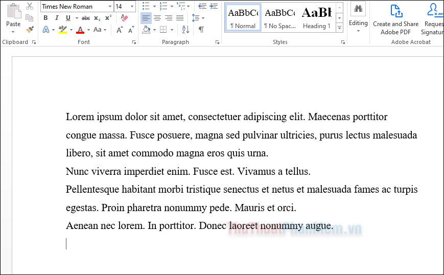 Word tạo ra một đoạn văn bản Lorem Ipsum chính xác với yêu cầu đã đề ra