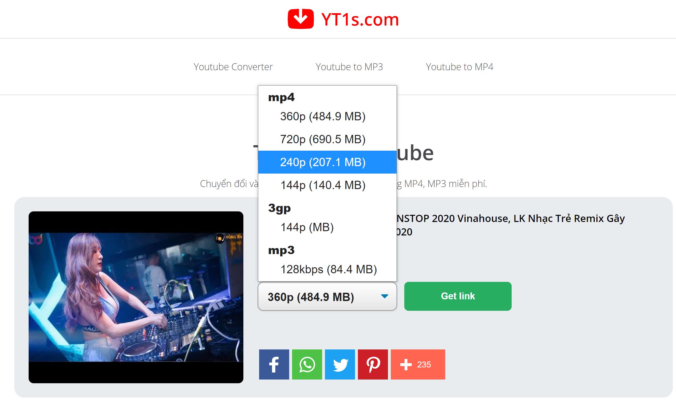 Chọn định dạng Video MP3 cần tải về