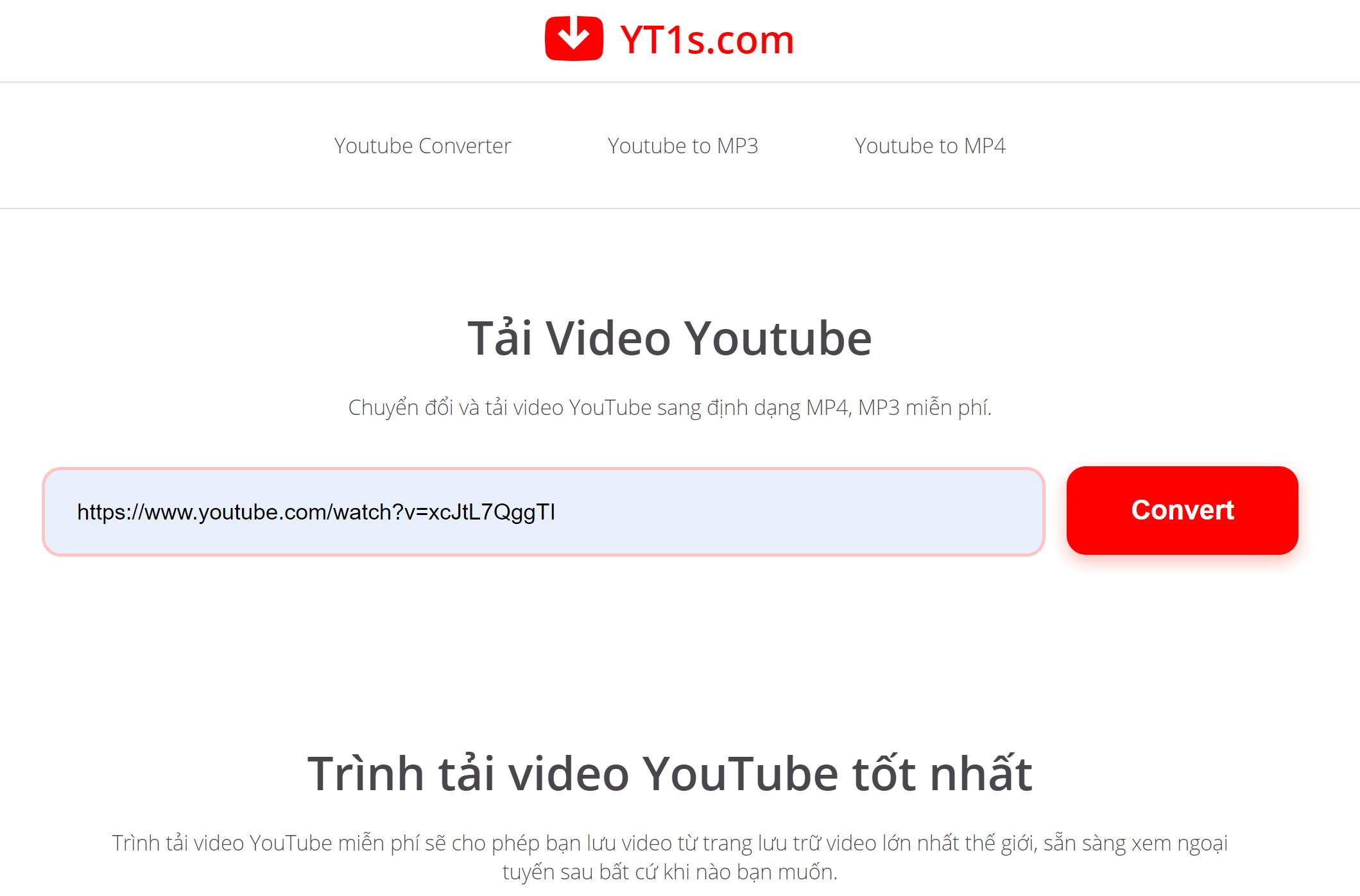 Nhập link video YouTube cần tải về vào hộp tìm kiếm và ấn Convert
