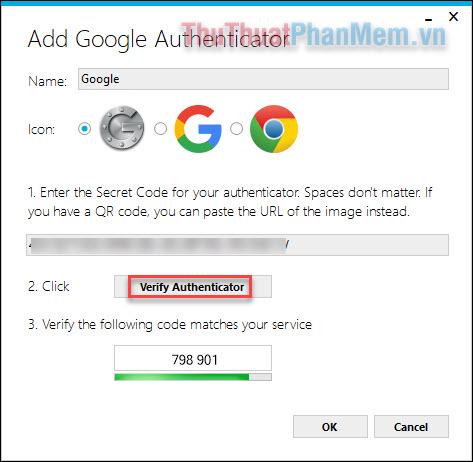 Nhập mã bí mật của bạn vào ô và nhấn Verify Authenticator