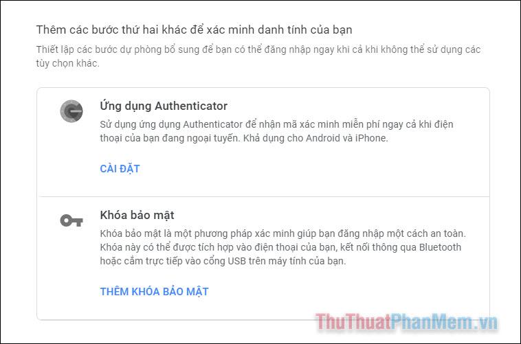 Nhấp vào Cài đặt trong mục Ứng dụng Authenticator
