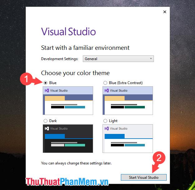 Chọn chủ đề cho phần mềm như Blue, Dark, Light