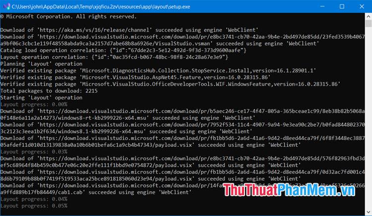 Giao diện download sẽ chuyển qua Command Prompt và chạy ngầm trên hệ thống