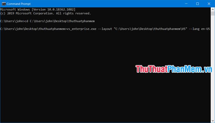 Nhập lệnh tạo bộ cài offline Visual Studio