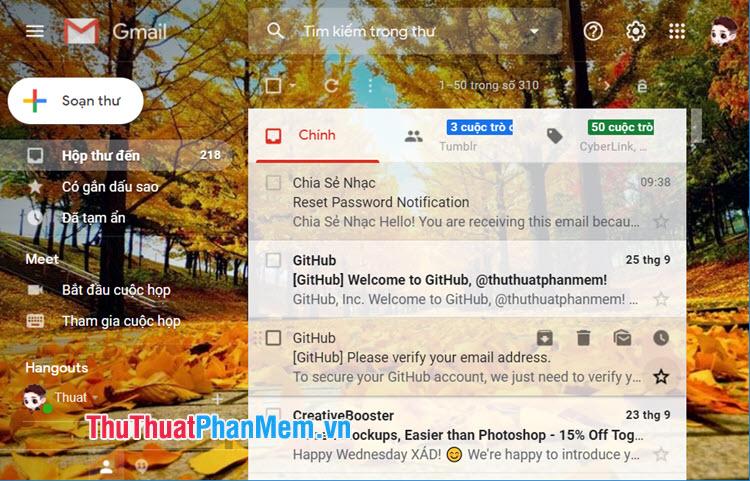 Quay lại trang chính Gmail và trải nghiệm hình nền mới