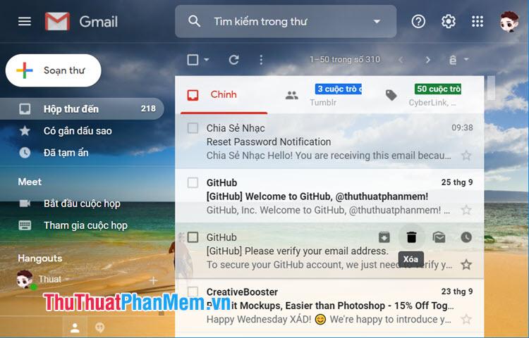 Sau khi cài hình nền xong, bạn hãy quay lại trang chính trên Gmail và trải nghiệm