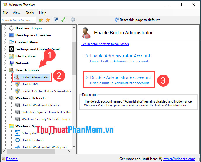 Chọn Disable Administrator account