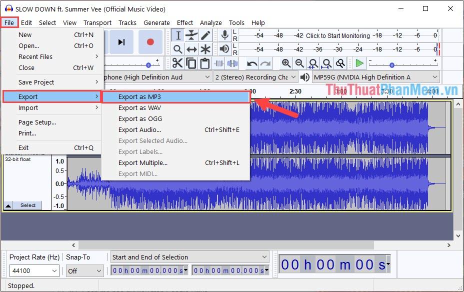 Chọn Export as MP3 để lưu lại bài hát sau khi đã tách beat