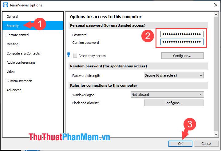 Nhập mật khẩu và xác nhận mật khẩu