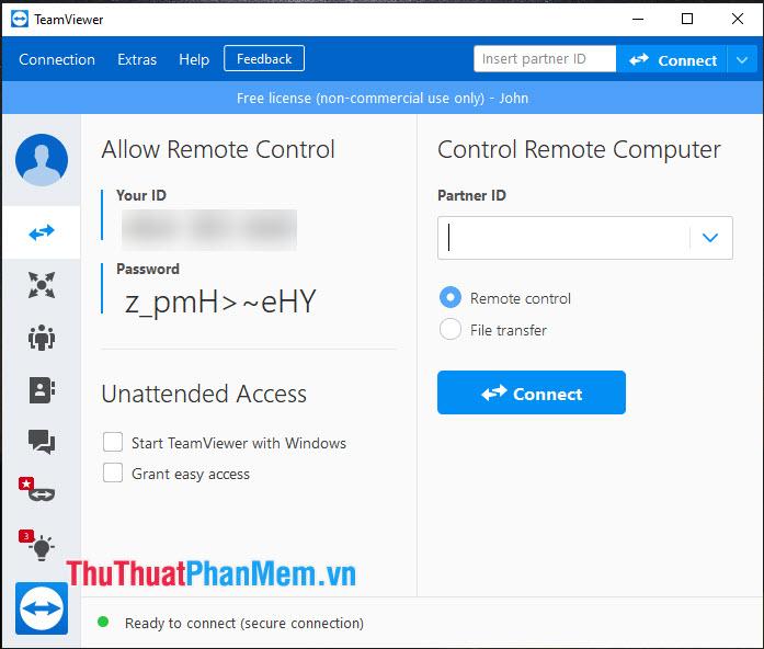 Sau khi thiết lập xong và khởi động lại TeamViewer thì bạn sẽ thấy mật khẩu truy cập với 10 ký tự mạnh hơn trước
