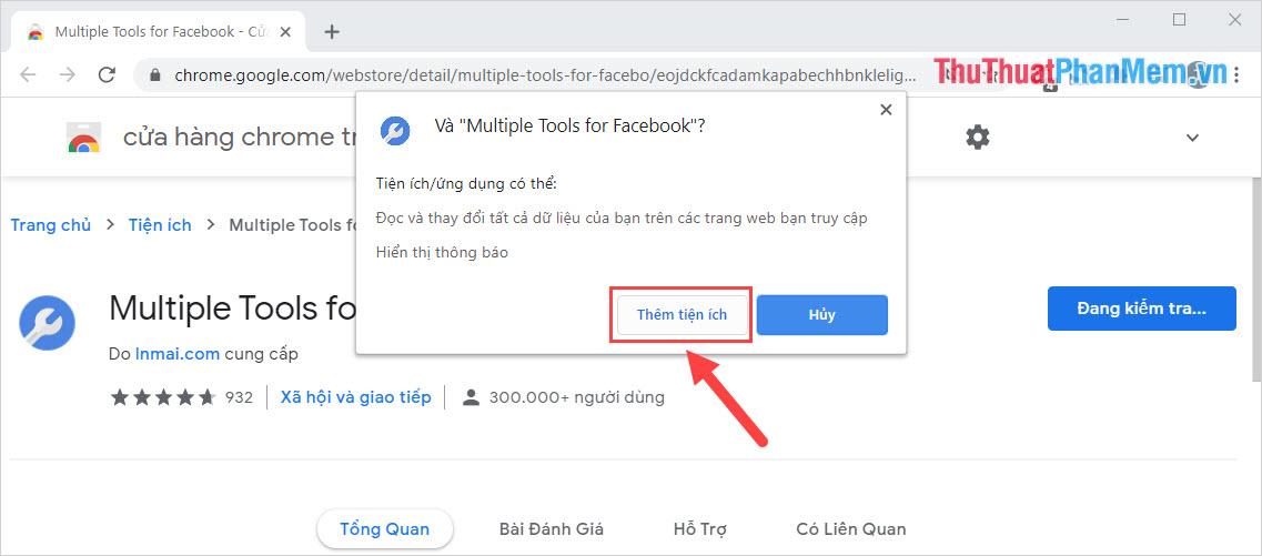 Chọn Thêm tiện ích để tiến hành cài đặt vào trong Google Chrome