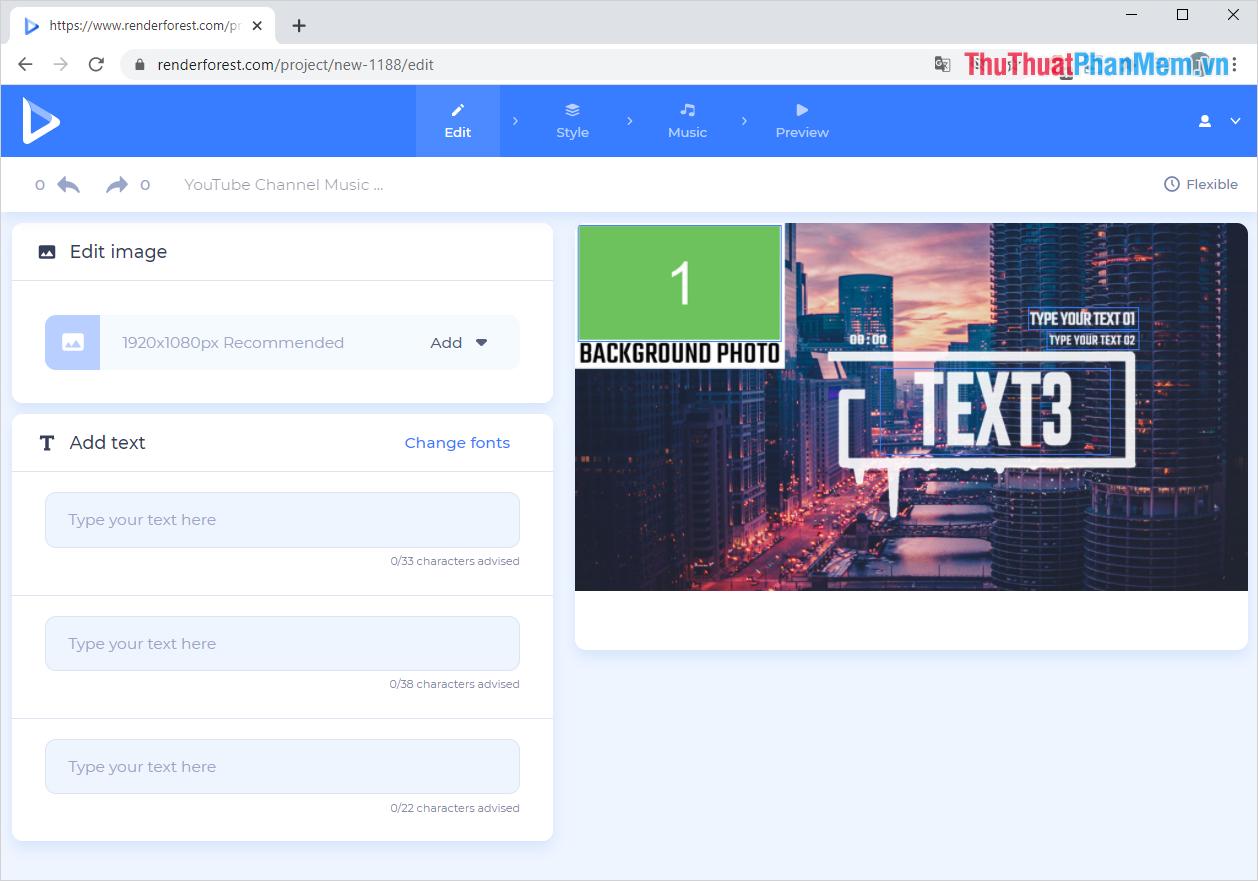 Điền các nội dung chữ vào mục Add Text