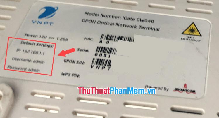 Mật khẩu mặc định của modem VNPT