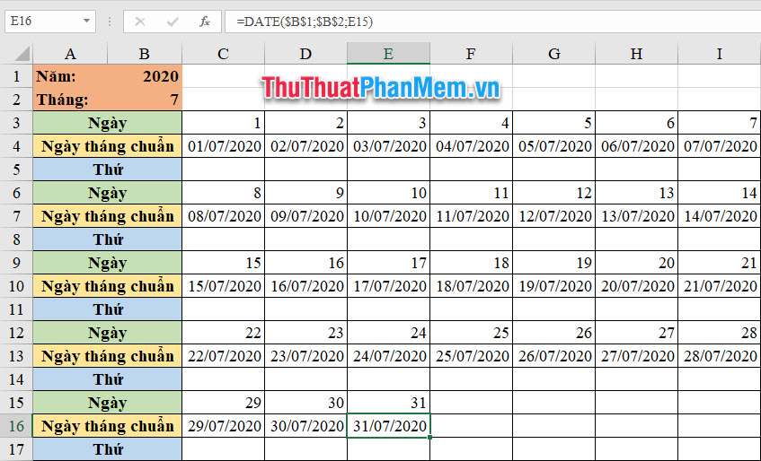Bấm F4 sau khi điền ô dữ liệu tham số ngày tháng