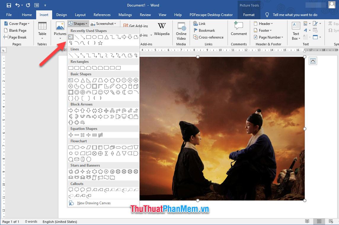 Chọn biểu tượng Text Box trong danh sách chèn hình