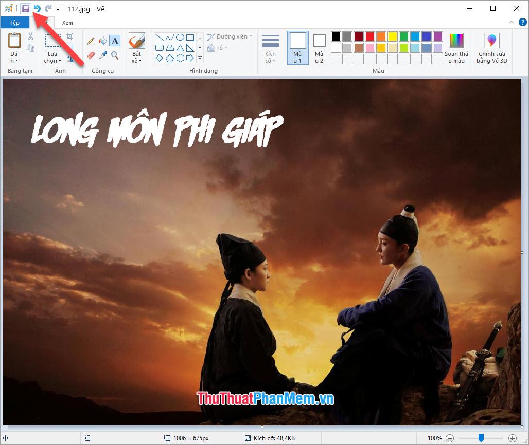 Chọn Save as để lưu ảnh đã chèn chữ ra một file khác