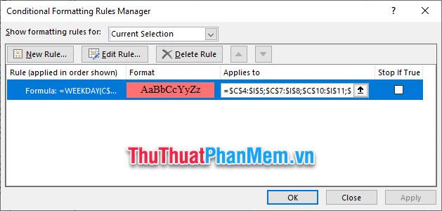 Click vào Edit Rule để thay đổi