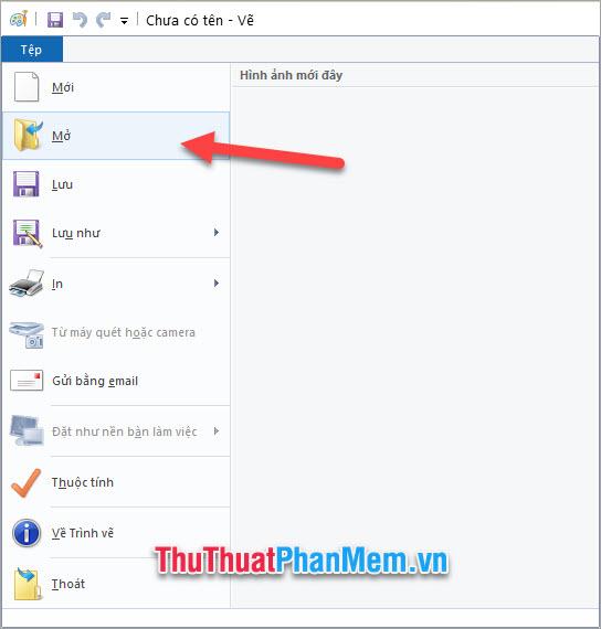 Click vào File (Tệp) và chọn Open (Mở) rồi chọn bức ảnh muốn chèn chữ trong máy tính của mình