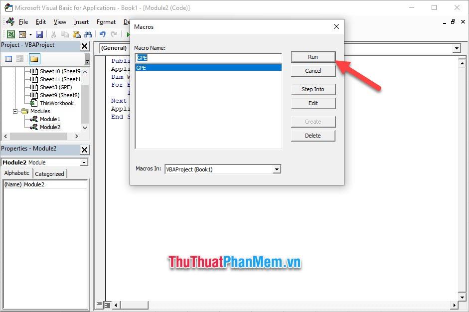 Click vào Run để chạy chương trình xóa nhiều sheet một lúc