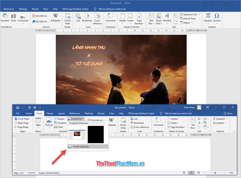 Click vào Screenshot trong nhóm Illustrations và chọn dòng Screen Clipping