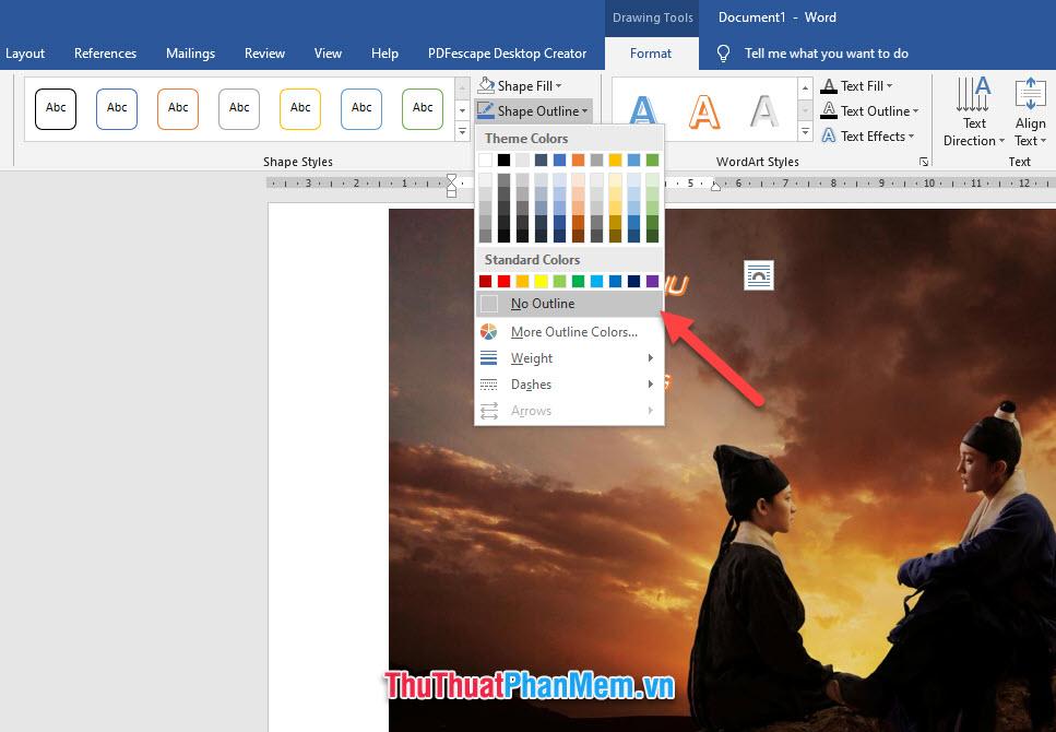 Click vào Shape Outline rồi chọn No Outline để xóa viền của Text Box