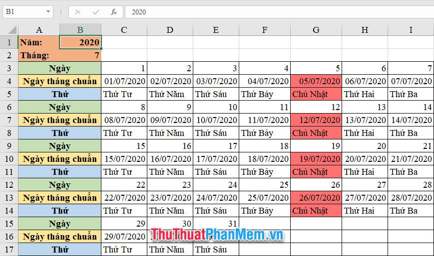 Cách tô màu ngày chủ nhật trong Excel
