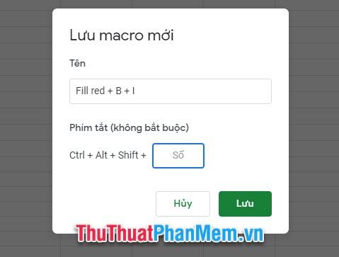 Bạn đặt tên cho macro mới để phân biệt các macro khác nhau